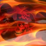 Aairbrushed tank, true fire with pirate skull